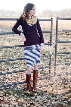 Must try: sweater over my striped dress!