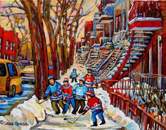 Streets Of Verdun Hockey Art Montreal Street Scene With Outdoor Winding Staircases Print By Carole Spandau Painted Staircases, Staircase Painting, Fine Art Amerika, Street Hockey, Montreal Ville, Thing 1, Fantastic Art, Paintings For Sale, Art Google
