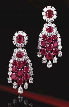 PAIR OF RUBY AND DIAMOND PENDANT-EARCLIPS, VAN CLEEF