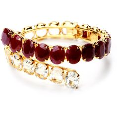 Bounkit Faceted Ruby and Clear Quartz Cuff ($650) ❤ liked on Polyvore