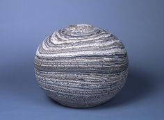 matsui kōsei (1927-2003), ovoid vase striped with blue, gray and white marbleized colored clay, ca.1977