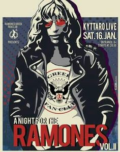 A Night for the Ramones Joey Ramone, Hippie Posters, Rock Posters, Concert Flyer, Concert Posters, Ramones, Punk Rock, Rock Roll, Samba