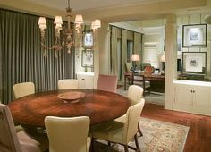 Round Table In The Dining Room For 8