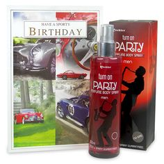 This unique birthday hamper includes a greeting card and 250 ml 'Turn on party' mens perfume body spray. Birthday Hampers, Birthday Gifts, Mens Perfume, Perfume Body Spray, Gift Hampers, Greeting Cards, Collections, Unique, Party