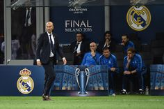 Real Madrid's French coach Zinedine Zidane looks on during the UEFA Champions League final football match between Real Madrid and Atletico Madrid at San Siro Stadium in Milan, on May 28, 2016.