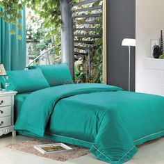 Turquoise Damask Full Size Solid Bedding Sets