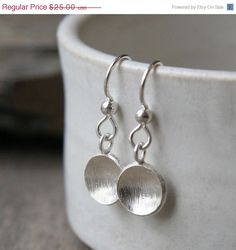 etsy;  SILVER SIMPLICITY Brushed Silver Curved Round Disc Sterling Silver Earrings. Simple Silver Earrings.