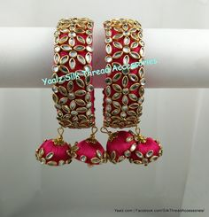 Yaalz Heavy Kundan Stone Work Bangle Set In Pinkish Red Color !! Price Rs.750 Per Pair For Orders Ping Us In WhatsApp +91 8754032250