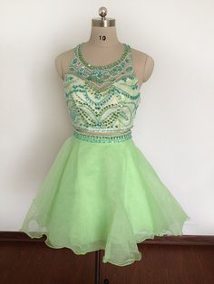 Two Pieces New Light Green Short Homecoming Dresses A-line Halter Backless Beaded Crystals Prom Dres on Luulla
