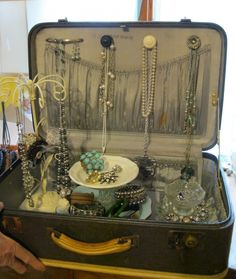 Suitcase as a jewelry display