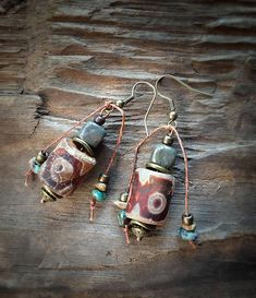Tribal Rustic Tibetan Dzi Agate Earrings, Simple Everyday Earrings, Boho Dangle Earrings, Bohemian Drop Earrings, Indie, Pyrite, Turquoisee