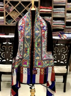 13018b0b65693 Kalamkari Pure Pashmina Shawl, Hand Painted & Hand Embroidered Kashmir Shawl,  Pure Cashmere Scarf, Kalamkari Wrap, Kashmiri Hand Sozni Work