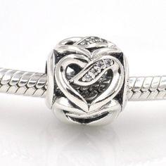 Nastri d'Amore cuori con zirconi chiari 100% argento sterling 925 si adatta misure Pandora charm Pandora bead Braccialetto europeo CLYB0575 di OceanBijoux su Etsy