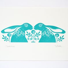 teal nordic hares gogcco screen print