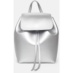Mansur Gavriel OC-Exclusive Mini Saffiano Leather Metallic Backpack ($785) ❤ liked on Polyvore featuring bags, backpacks, drawstring backpack, mini bucket bag, backpack tote, tote handbags and bucket bag