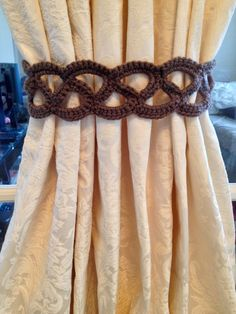 Crochet Curtain Tiebacks (taupe colored) by JinesCrafts on Etsy