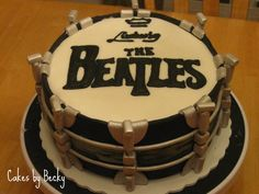 Side view of the Beatles Drum Birthday cake I made :)