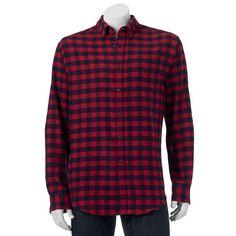 Big & Tall Croft & Barrow® Classic-Fit Plaid Flannel Button-Down Shirt, Men's, Size: L Tall, Dark Red
