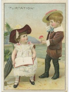 Old timey illustration of two young children flirting (source unknown)