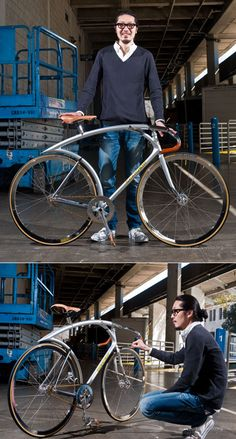 The confines of designing a bicycle seem pretty tight, but custom bike builder Shinichi Konno breaks out of them admirably. Shown here is his Silver Flyer track bike, which recently won both Best in Show and the President's Choice award at the North American Handmade Bicycle Show.