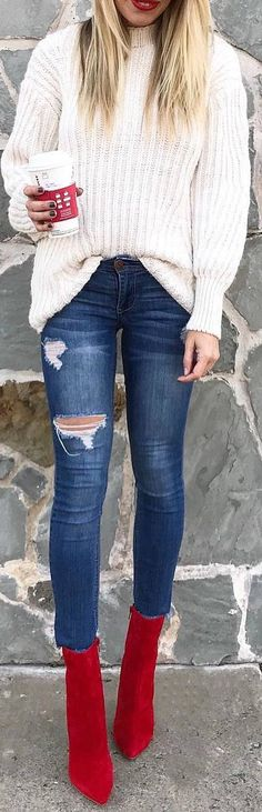 #winter #outfits white sweater, ripped jeans, red boots