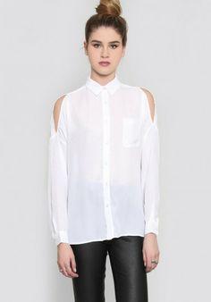 White Lapel Off the Shoulder Pocket Blouse