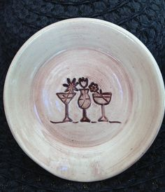 bar spoon rest /  pottery cocktail saucer / happy hour / umbrella drinks /  condiment plate by Clayistherapy on Etsy
