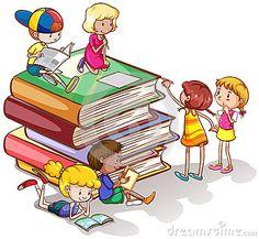 Kids reading books together