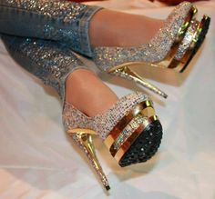 Gold with sparkles.