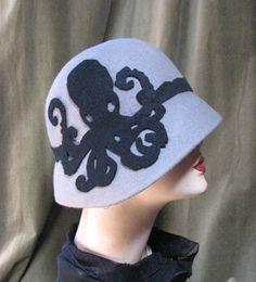 Octopus Cloche Flapper Hat 1920s Hat Modern Cloche by BoringSidney on Etsy https://www.etsy.com/listing/160321956/octopus-cloche-flapper-hat-1920s-hat