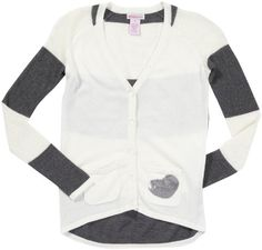 Cashmere sweater  Design History Big Girls' Cardigan with Stripe Sleeve and Sequin Heart Pocket, Winter White/Chrome Grey, Large Big Discount