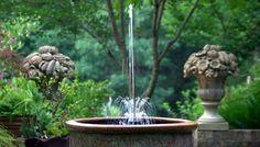 Self-contained garden fountain in a pot.