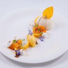 Pineapple and Mandarin Gourmet Food Plating, Michelin Star Food, Modern Cakes, Beautiful Desserts, Dessert Decoration, Desserts To Make, Culinary Arts, Plated Desserts, Creative Food