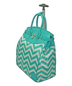 Look at this #zulilyfind! Blue Geometric Signature Rolling Tote #zulilyfinds