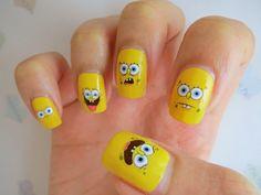 SpongeBob Faces Water Decal Nail Art BLE1606