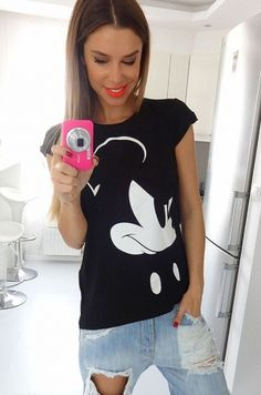 Disney tričko s potlačou Mickey s krátkym rukávom vhodné k džínam, sukni a…