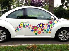 VW beetle funky hippie flower decals stickers http://www.hippymotors.co.uk/p/product/1104013045-Flowery+Make-over+car+stickers/