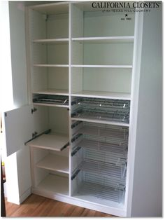 Even the simplest of designs can turn a pantry from tired and boring to extraordinary and functional. This Austin client had hers installed last week featuring touch latch door with slide-out shelf behind, slide out spice racks, slide out can rack, and multiple baskets in varying sizes.    Designed by California Closets consultant, Peter!