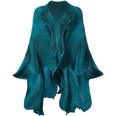 Issey Miyake frilled shawl jacket (20 340 UAH) ❤ liked on Polyvore featuring outerwear, jackets, green, shawl jacket, blue shawl, green jacket, polyurethane jacket and green shawl