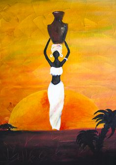 African Woman Painting - African Woman Art by Ingrida. African Woman Art is a painting by Ingrida which was uploaded on April African Drawings, African Artwork, African Art Paintings, African Abstract Art, African Prints, African Fabric, Africa Painting, Afrique Art, Contemporary African Art
