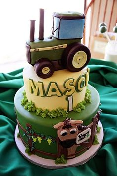 John Deere tractor cake!  Melissa this cake already has his name on it!