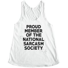 Proud Member of the National Sarcasm Society Shirt Tumblr Fashion... ($14) ❤ liked on Polyvore featuring tops, tanks, white, women's clothing, checkered shirt, yoga tops, white top, shirts & tops and checked shirt