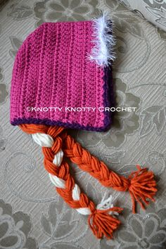 FREE PATTERN BY Knotty Knotty Crochet: Princess Anna bonnet