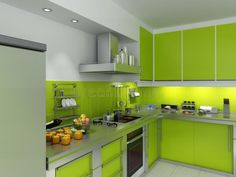 Modern lime green kitchen cabinets with stainless appliances & countertops - Homeclick Community Buy Kitchen Cabinets, Green Cabinets, Kitchen Flooring, Kitchen Appliances, Stainless Appliances, Kitchen Utensils, Lime Green Kitchen, Green Kitchen Designs, Modern Kitchen Design