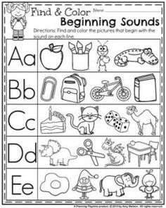 Back to School Preschool Worksheets - Find and Color Beginning Sounds.