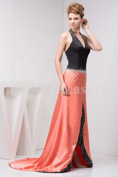 Amazing Satin Chiffon Halter Sleeveless A-Line Puddle Train Prom Dress Wholesale Price: US$197.99