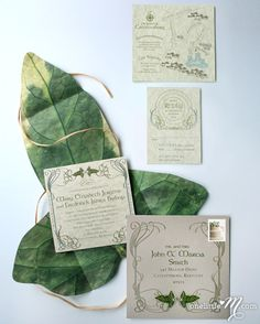 LOTR wedding invitations: These are awesome and still classy looking :D Hobbit Wedding, Elvish Wedding, Medieval Wedding, Laser Cut Wedding Invitations, Wedding Stationary, Birthday Invitations, Woodland Wedding Invitations, Tolkien, Fantasy Wedding