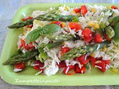 Insalata di riso con asparagi, peperone e mais - Rice salad with asparagus, pepper and corn http://zampetteinpasta.blogspot.it/2014/06/insalata-di-riso-con-asparagi-peperone.html