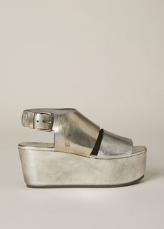 Platinum Trampolo Wide Strap Wedge Sandal by Marsell from Totokaelo