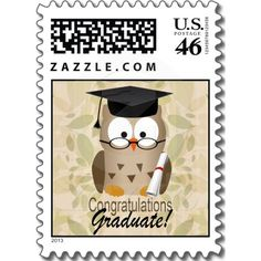 Cute Wise Owl Graduation U.S. Postage Stamps